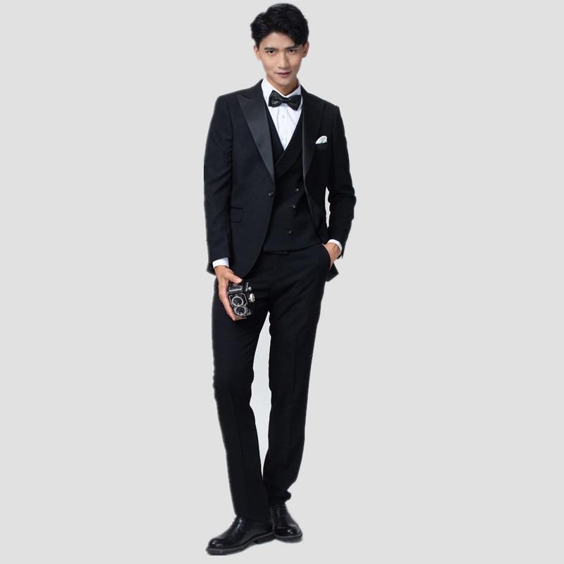 (سترة + سترة + السراويل) الرجال الموضة الجديدة بوتيك فستان حفلة موسيقية الزفاف دعوى ثلاث قطع الذكور الأعمال الرسمية الدعاوى غير رسمية