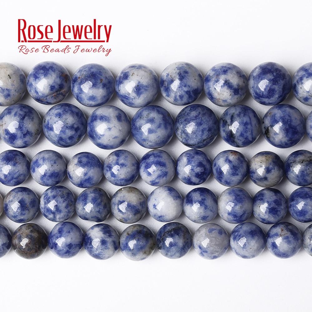 """Natural pedra real azul sodalite redonda solta grânulos 15 """"strand 4 6 8 10 12 14 mm escolher tamanho para fazer jóias acessórios femininos"""