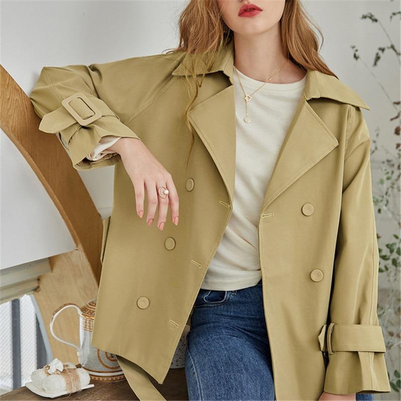2020 nova moda outono feminino casaco solto senhoras cor sólida casual elegante botão de alta qualidade outerwear feminino