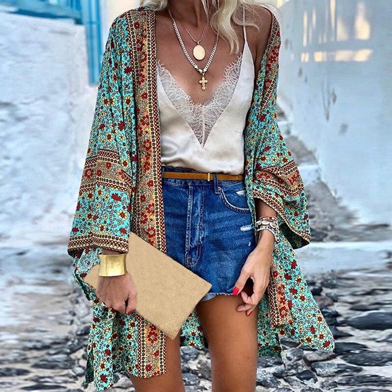 Traditional Women Kimono Cardigan Casual Vintage Ladies 2021 Long Crochet Chiffon Kimono Preto Loose  Printed Blouse Tops