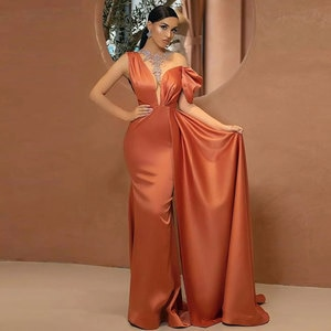 Asymmetrical One-Shoulder Party Gowns Mermaid / Trumpet Sweep/Brush Party Dresses Beading Sleeveless Draped Evening Dresses