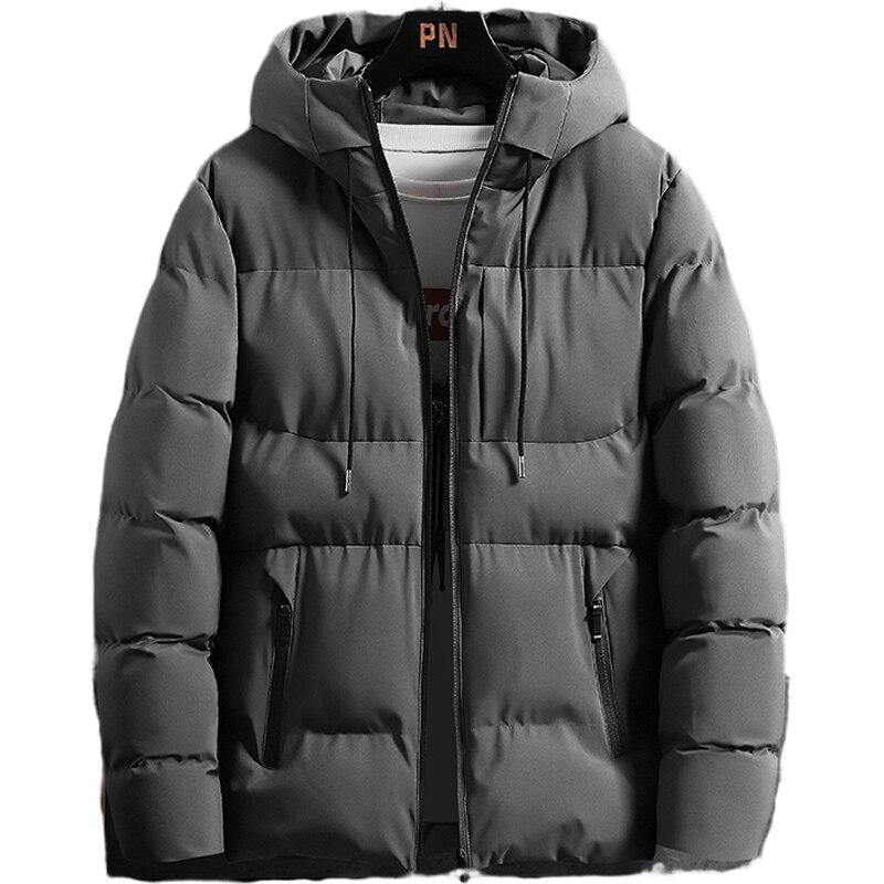 Толстая теплая хлопковая куртка, Мужская короткая зимняя модная повседневная Молодежная куртка с капюшоном, холодная непромокаемая мягкая...
