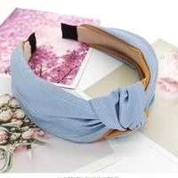 korean golden silk fabric knotted hairbands for women patchwork princess turbands braided headband hair hoop cute hair headdress