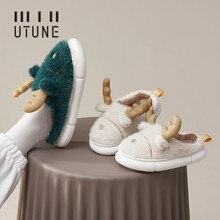 UTUNE Winter Women Furry Cartoon Slippers Rabbit Wool Home Shoes EVA Platform Slient Men Flat Shoes