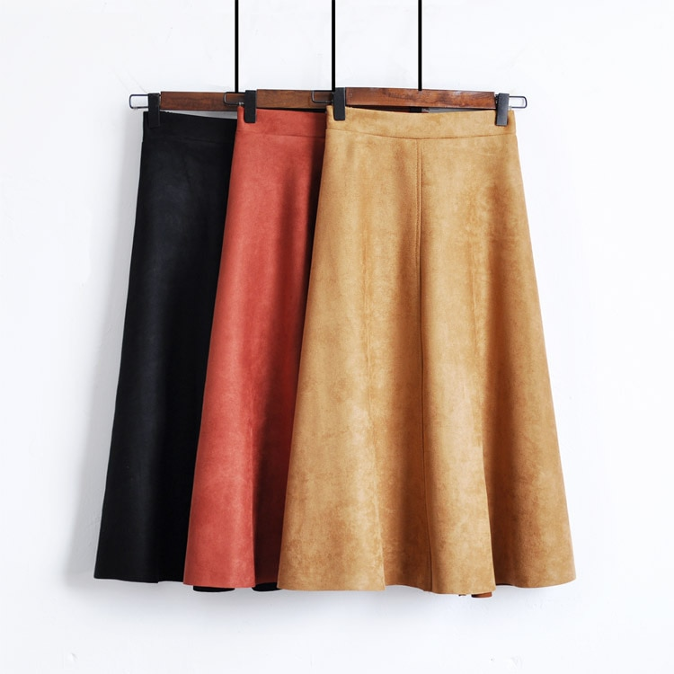 DANJEANER Fashion High Waist Suede A-line Skirt Women for Spring Autumn Korean Style Mid-Calf Retro Pleated Elastic