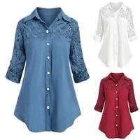 s 5xl grote maten dames kleding women lady large size button lace turn down collar long sleeve shirt blous fashion stitching f4