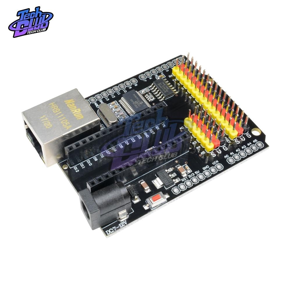 ENC28J60 Ethernet Shield V2.0 LAN RED/O SPI 51 AVR foto LPC STM32 para Arduino UNO R3 CH340G NANO V3.0