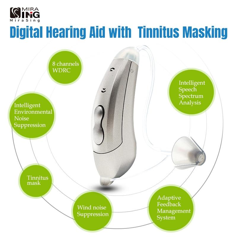2021 قناع طنين 8 قنوات رقمي للمساعدة على تقوية السمع BTE مضخم صوت لأذن المسنين المعتدلين