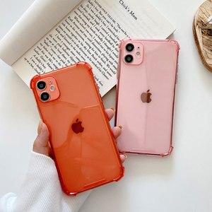 Противоударный цветной чехол для телефона iPhone 12 11 7, силиконовый мягкий чехол для iPhone 11 12 Pro Max X XS XR 8 7 6 6s Plus, чехол