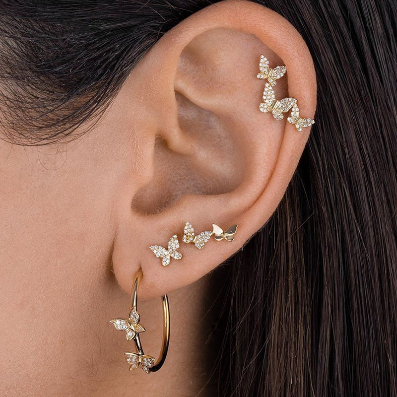 EN 4 Pcs Bohemian Fashion Crystal Butterfly Stud Earring Set 2021 Circle Earrings For Women Femme Cu