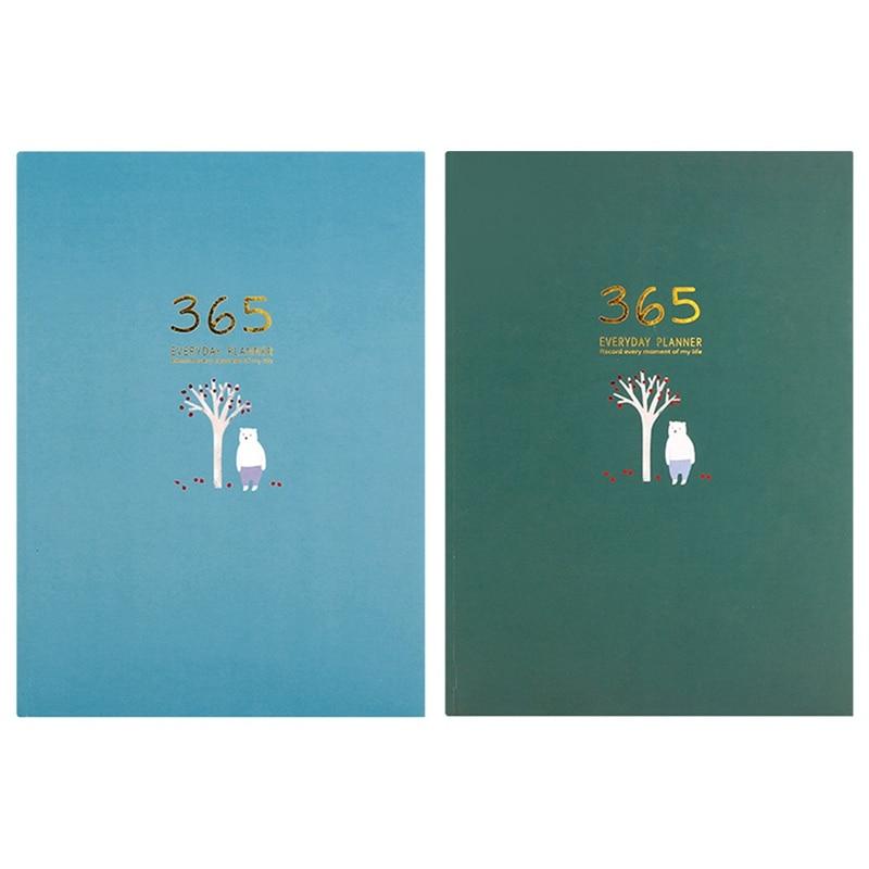 Agenda caderno 365 dias planejador semanal mensal plano anual livro 128 folhas de papel plutônio capa dura estudante gestão do tempo