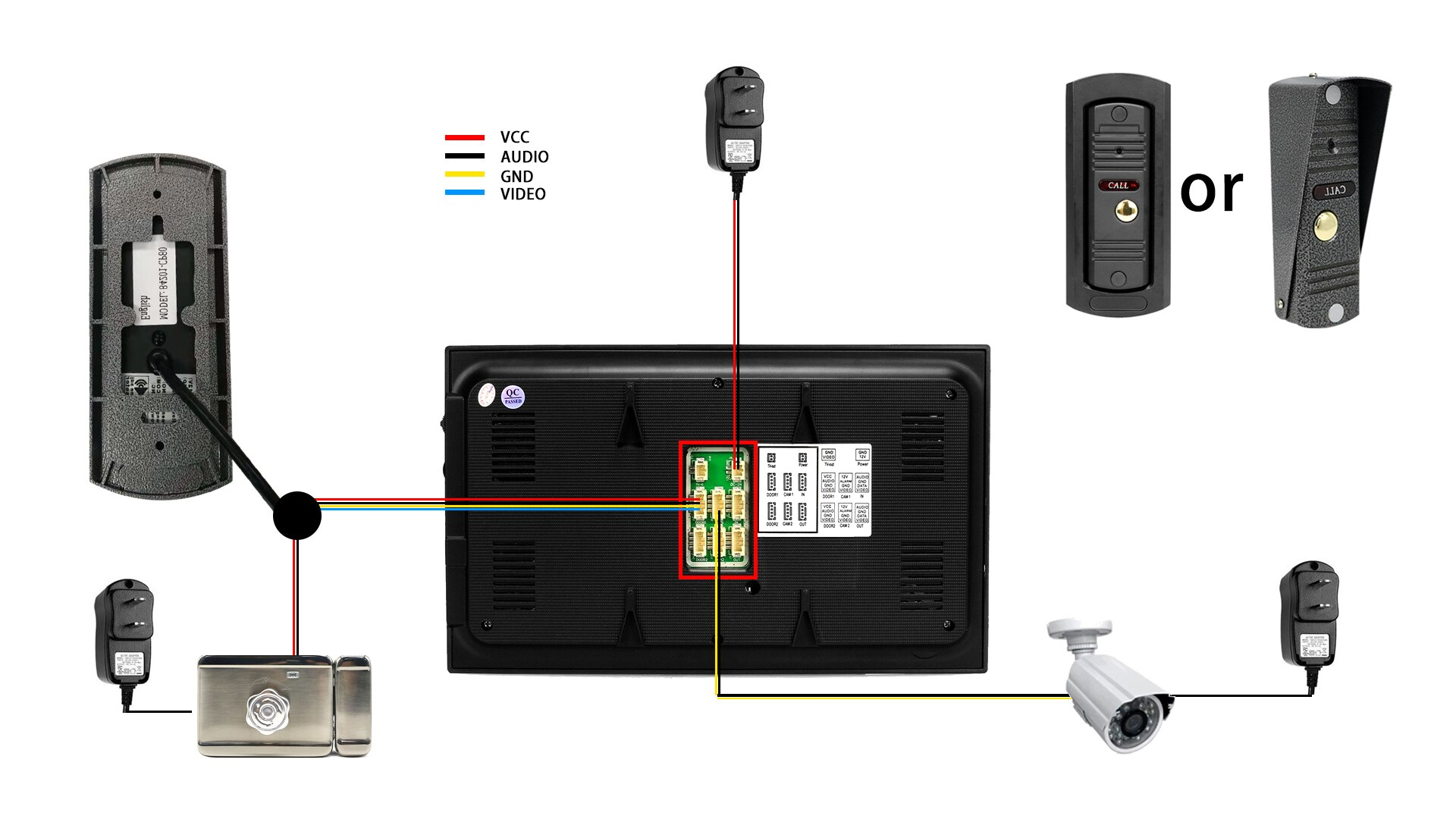 7 Inch LCD Black Monitor 1200TVL  Doorbell Camera 32G Memory SD Card Security Camera Home Intercom Video Door Phone System enlarge