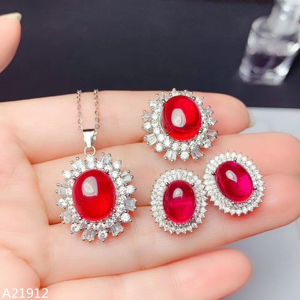 Djjeaxcmy boutique jewels 925 Plata de Ley roja piedra de corindón colgante de niñas collar pendiente anillo 3 piezas Conjunto de Apoyo dete
