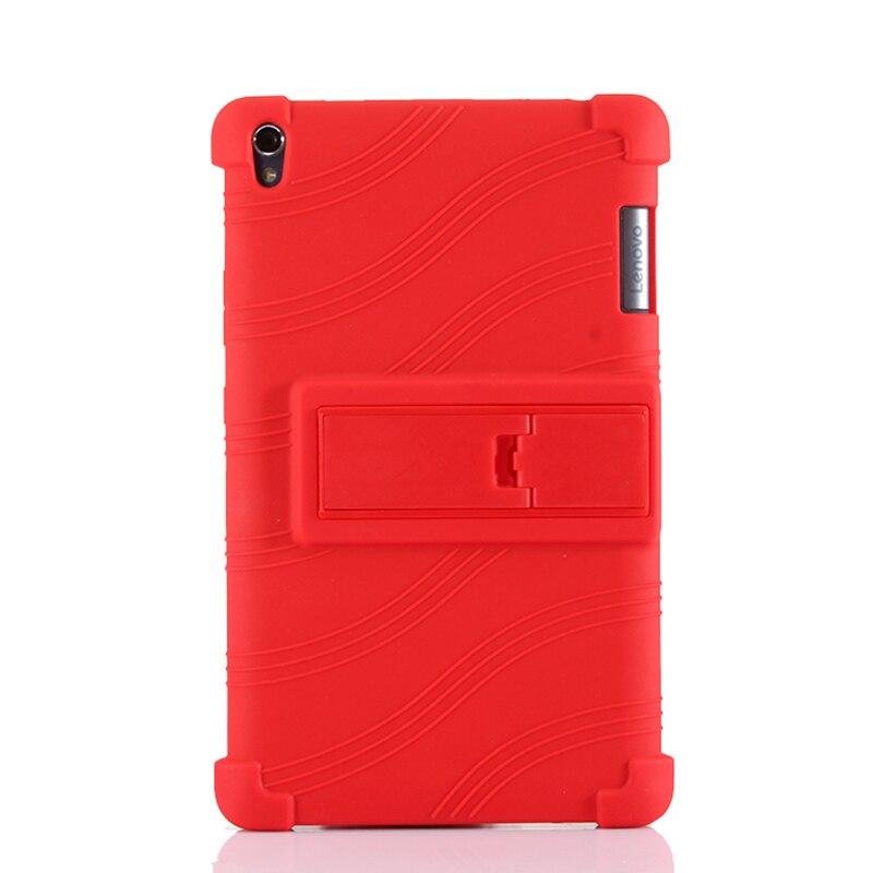 Capa de silicone macio, capa traseira para lenovo tab3 8 plus com suporte para tablet lenovo p8 TB-8703f TB-8703m + película + caneta