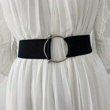 Cinturón con hebilla redonda para mujer, cinturón ancho elástico para abrigo, suéter, vestido de moda, color negro