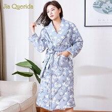New Winter Robe Housecoat Long Sleeve Floral Cotton Sleepwear Lingerie Nighty Kimono Female Robes Warm Plus Size Women Bathrobe