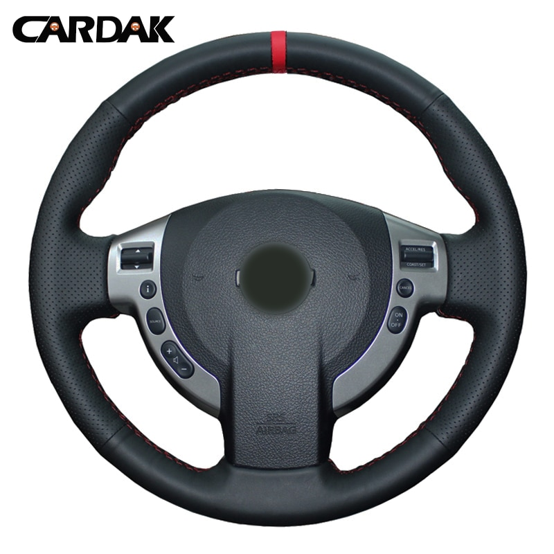 CARDAK leather DIY braided hand sewing steering wheel cover car accessories for Nissan Qashqai J10 J