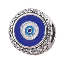 New 925 Sterling Silver Bead Charm Blue Enamel Evil Eye Watchful Eye With Crystal Bead Fit Pandora Bracelet Bangle DIY Jewelry