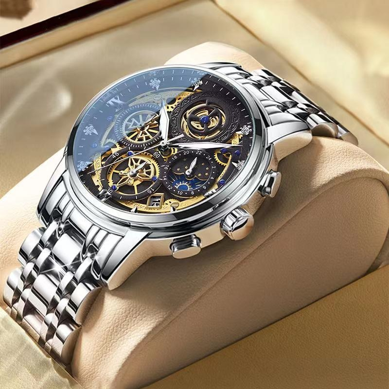 2021 New Fashion Men's Watch Stainless Steel Top Brand Luxury Waterproof  Sports Chronograph Quartz