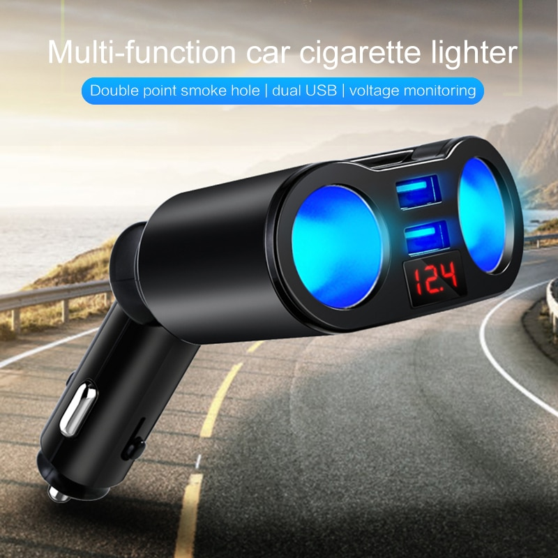 3.1A Dual USB Car Charger 2 Port LCD Display 12-24V Cigarette Socket Lighter Fast Car Charger Power