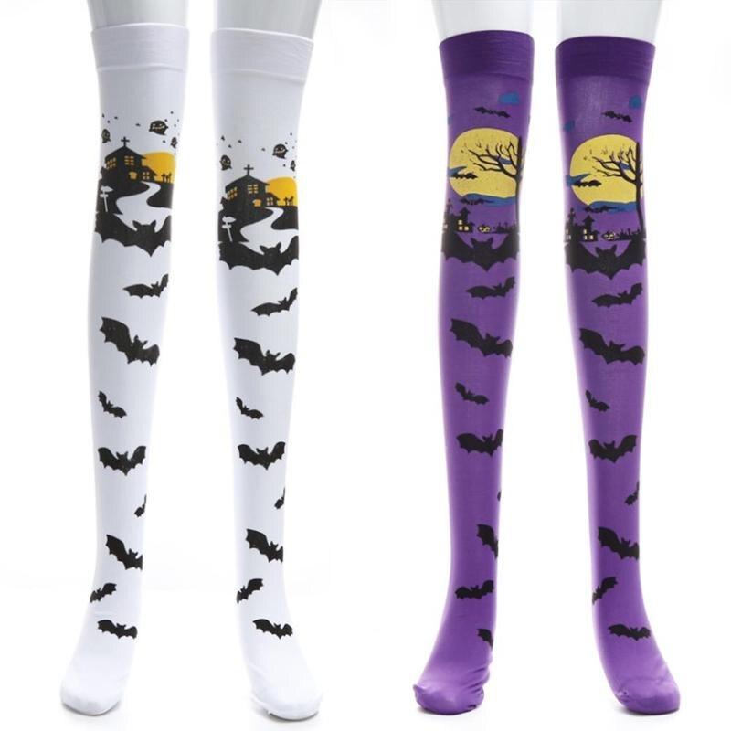 Halloween maquillaje calcetines estampado de tubo hasta la rodilla medias Festival rendimiento disfraz estampado de murciélago vestido de fiesta
