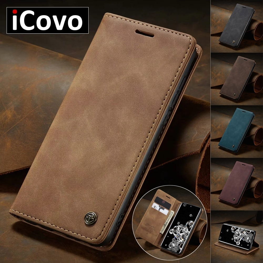 Matte Leather Flip Cover for Samsung A71 A51 A70 A50 A40 A30 A20 A10 Wallet Case S20 Ultra Note 10 P