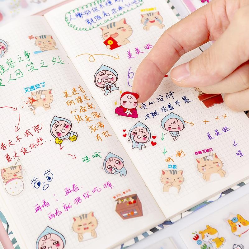 AliExpress - 6 Pcs Korean Cute Cartoon Girl Decorative Stationery Daily Stickers Kawaii Scrapbooking DIY Diary Planner Album Stick Lable