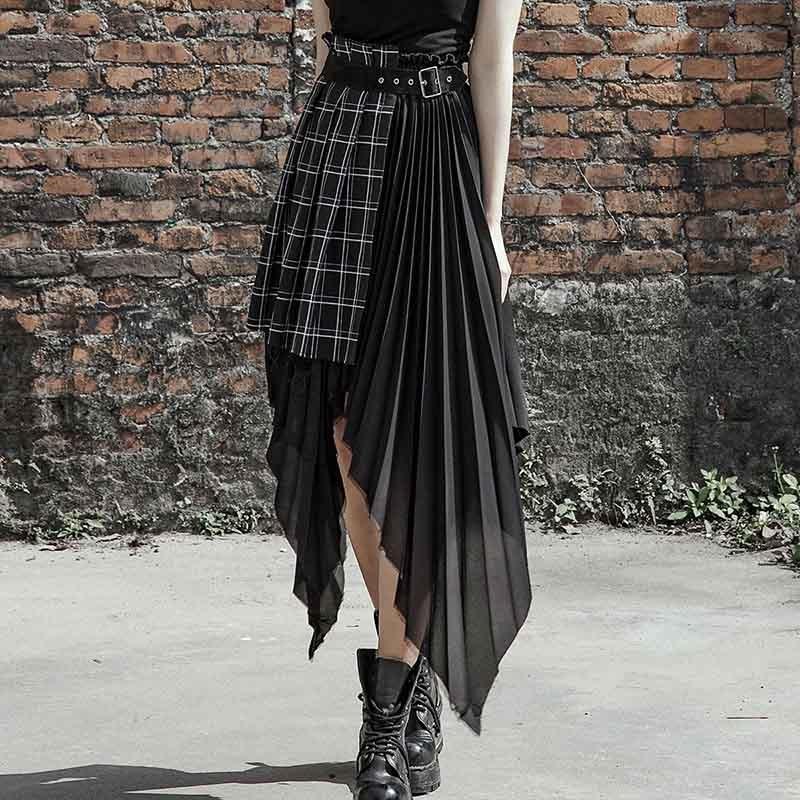 Punk rave novas mulheres falso duas peças saia moda xadrez preto irregular chiffon saia feminina de cintura alta sexy clube saia gótica