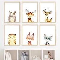 Peinture sur toile  Animal de dessin anime nordique mignon  cerf  renard  raton laveur  image de qualite  affiche  chambre denfant  Art  decor mural de maison