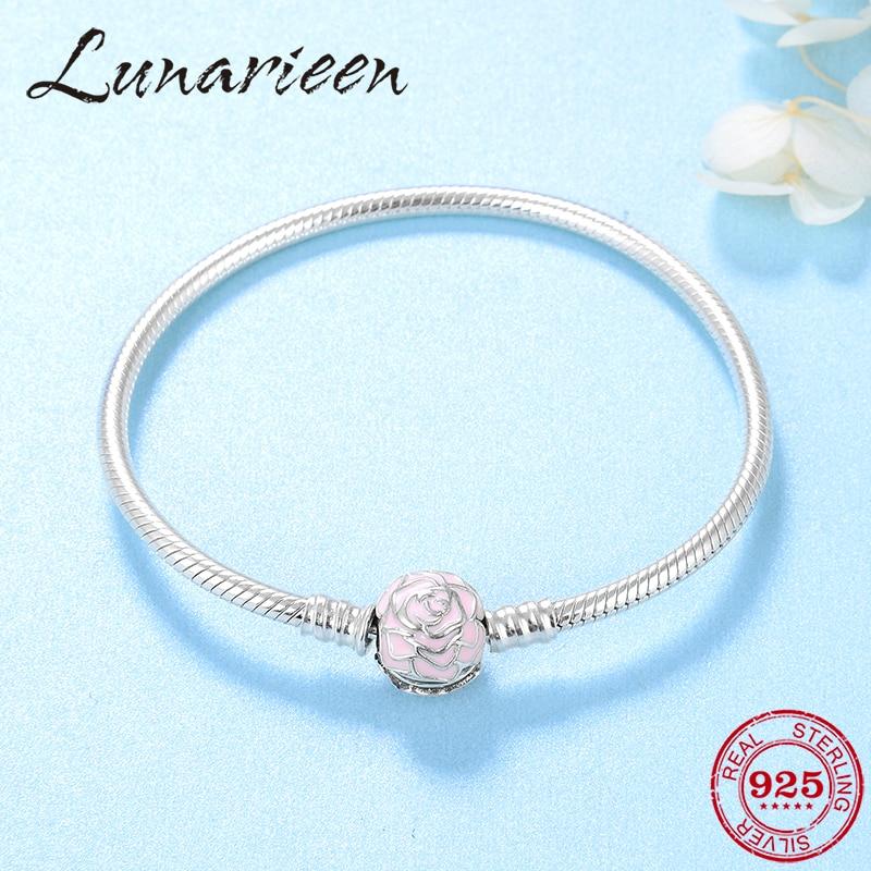 2019 Fine Female Jewelry Pink Sides Rose Flower Women Bracelets Bangles Authentic 925 Sterling Silver Flexible snake bone chain
