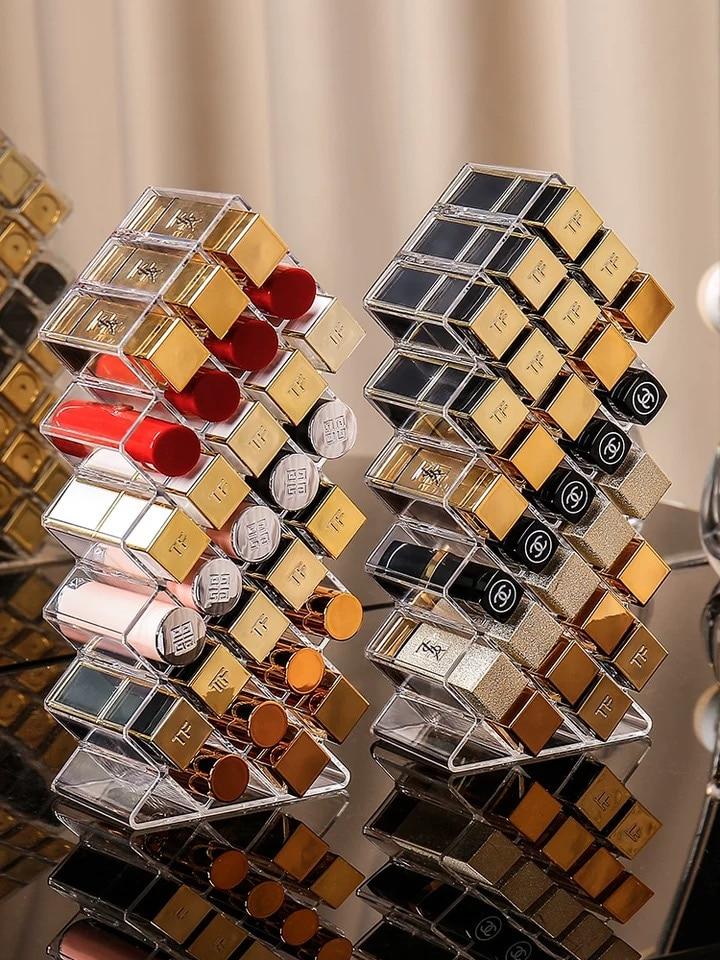 AliExpress - 28 Grids Transparent Lipstick Storage Box Acrylic Makeup Organizer Cosmetic Shelf Desktop Dressing Table Bathroom Use