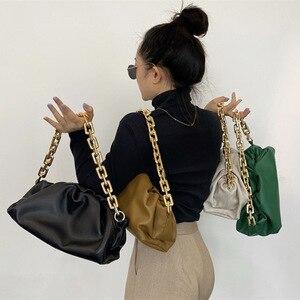 Fashion Ladies Handbag Fold Cloud Pu Leather Shoulder Bag Thick Chain Underarm Bag Women Solid Retro Small Handbags 2021