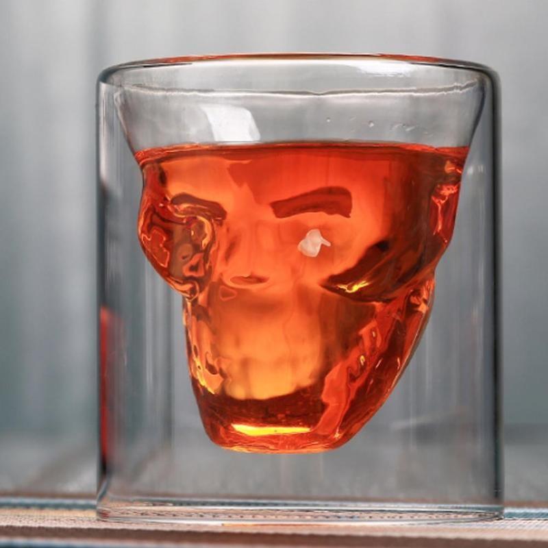 Vaso tipo chupito de Tequila de Whiskey de cabeza de calavera 1 unidad, divertido, creativo, para fiesta, vino, cerveza, taza para beber