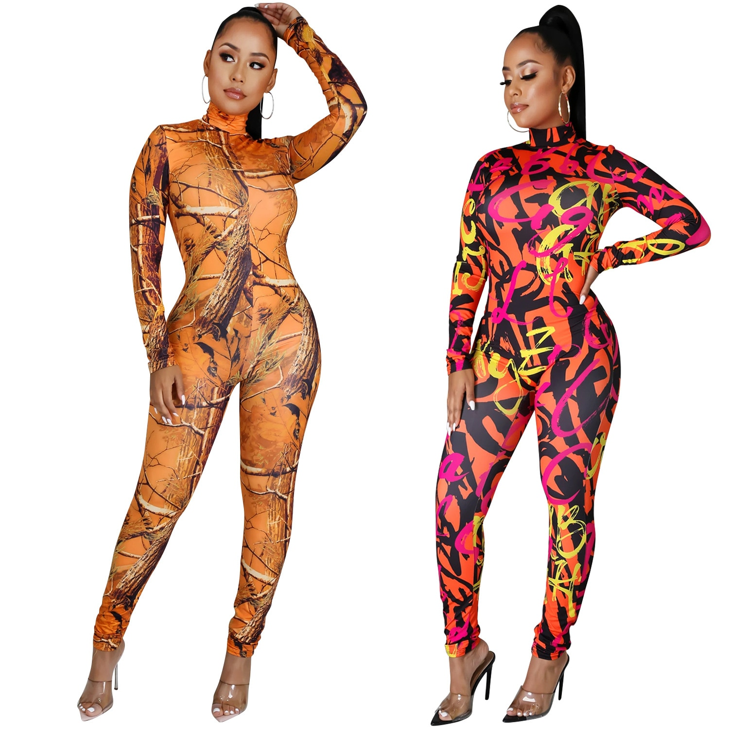 Active Tie Dye Letter Print Turtleneck Bodycon Jumpsuit for Women Sexy Club One Piece Overall Bodycon Plus Size Rompers Outfits