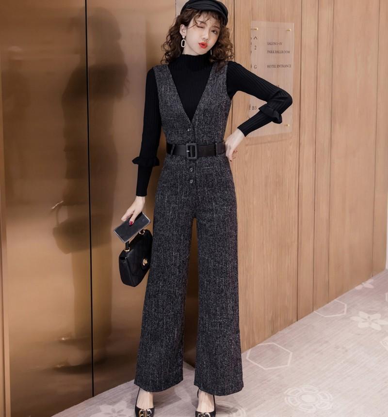 2021 Autumn Winter Women Woolen jumpsuit Set 2 Piece Tweed Elegant wide-leg suspenders jumpsuit + Black turtleneck sweater S