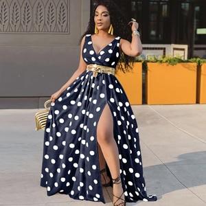 Evening Dresses 2021 New African Sexy Dress For Women Deep V Neck Polk Dot Long Dress Plus Size Elegant Split Gown Party Robe