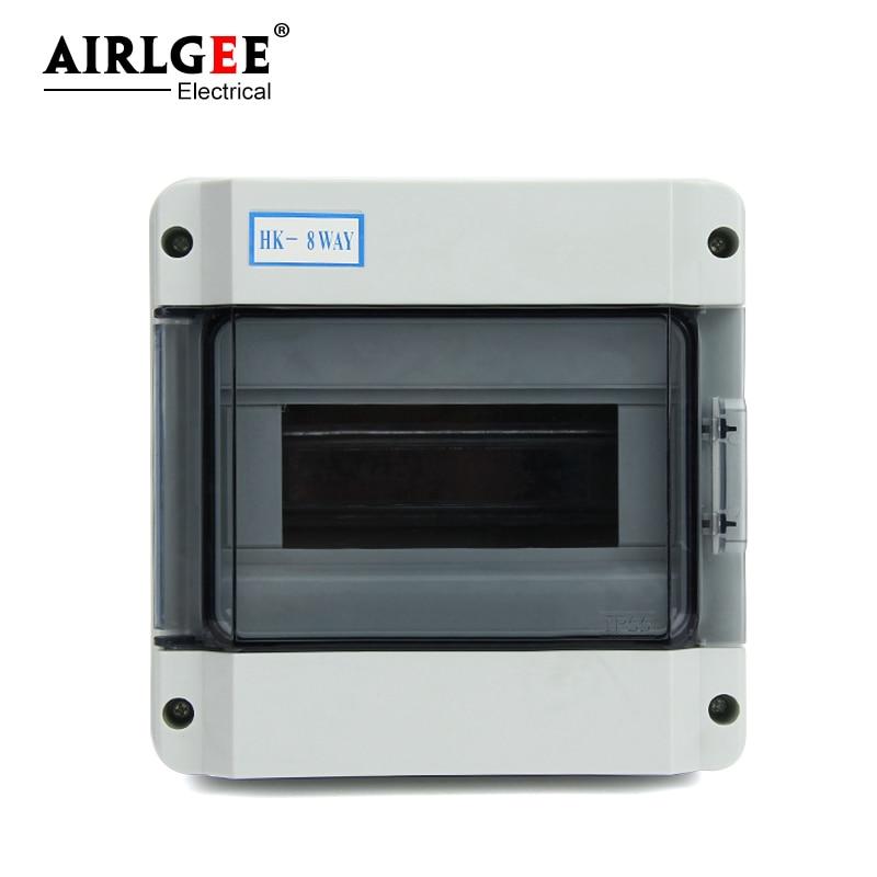 IP65 HK-8ways 8-طريقة للماء البلاستيك الطاقة الحبل توزيع مربع ABS/PC قاطع دائرة كهربائيّة الهندسة مربع