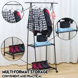 Multi-functional Metal Frame Clothes Hanger Coat Rack Floor Hanger Storage Wardrobe Clothing Drying Racks Storage Shelf Wheels