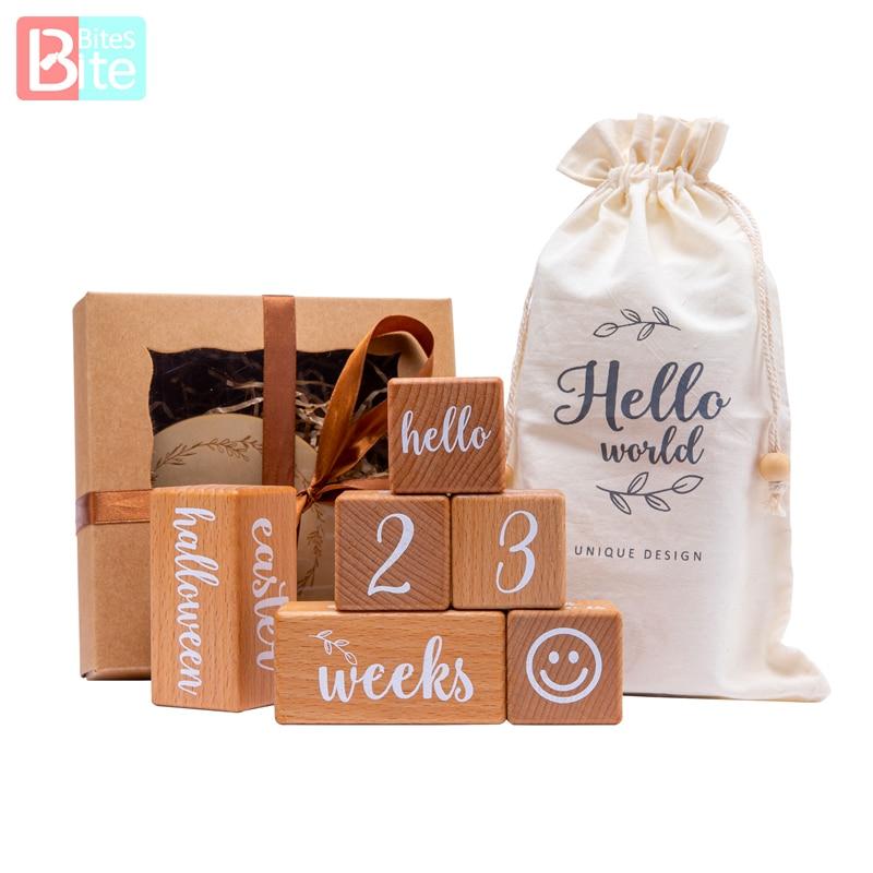 6Pcs/1Set Baby Milestone Beech Block Square Engraved Newborn Birth Month Birthday Milestones Photography Tool Accessories