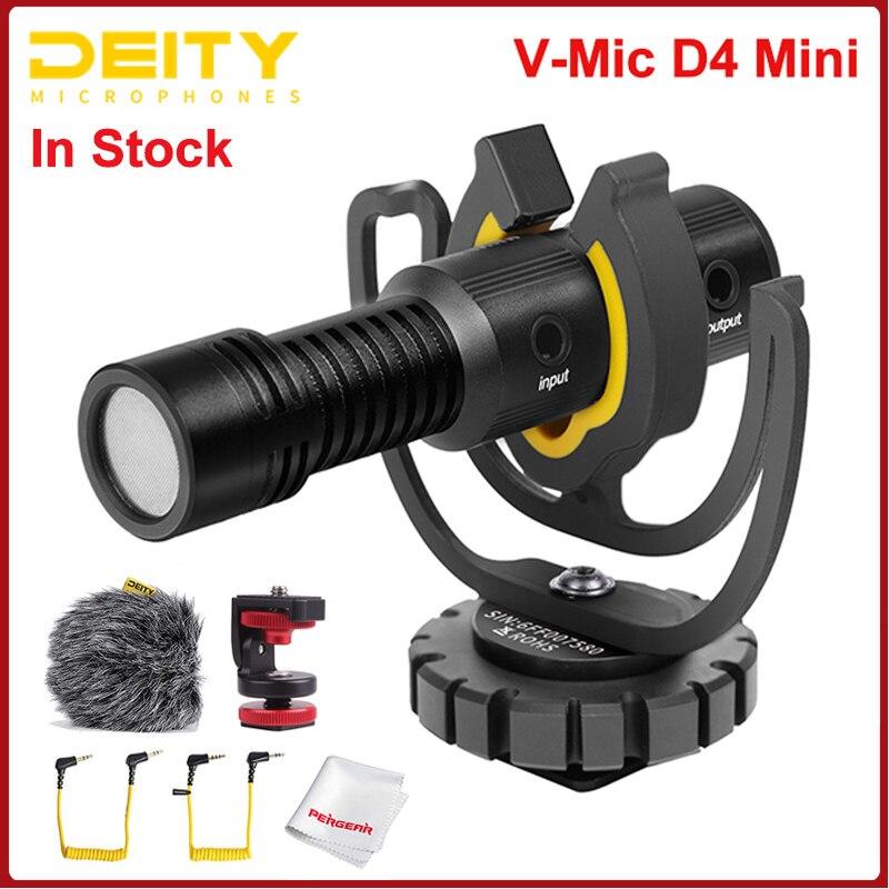 ميكروفون صغير Deity V-Mic D4 رأس مدمج Mic TRS 3.5 مللي متر مع حامل للصدمات للهواتف الذكية DSLRs مقابلة تسجيل الفيديو