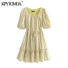 KPYTOMOA Donne 2020 Chic Fashion Stampa Floreale Increspato del Mini Vestito Vintage Coulisse Legato Con Fodera Femminile Abiti Vestidos