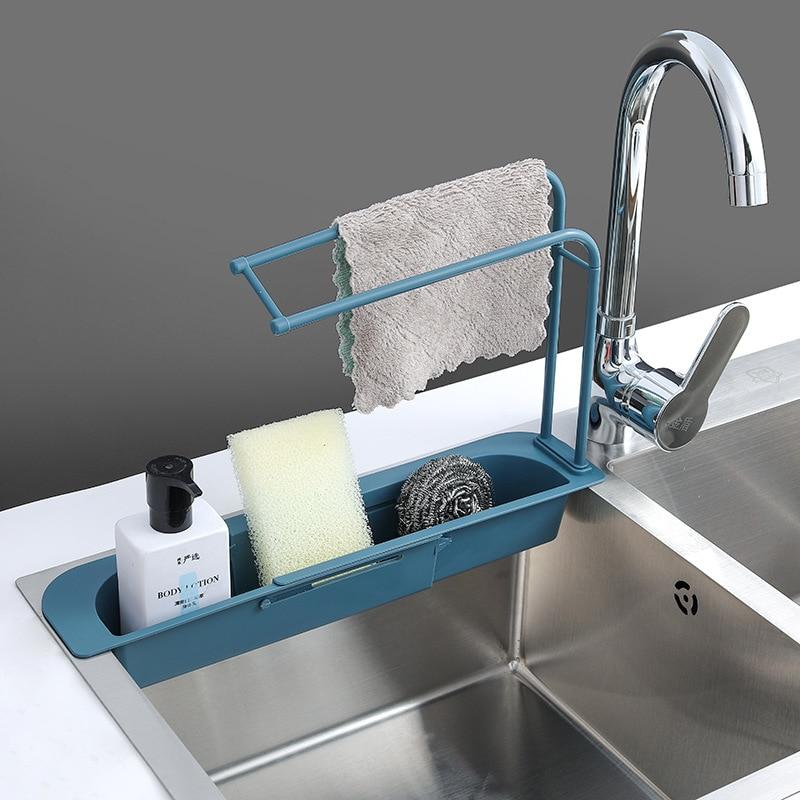 Telescopic Sink Shelf Holder Expandable Soap Sponge Drain Rack Storage Basket Washing Sink Drying Rack Home kitchen Supplies