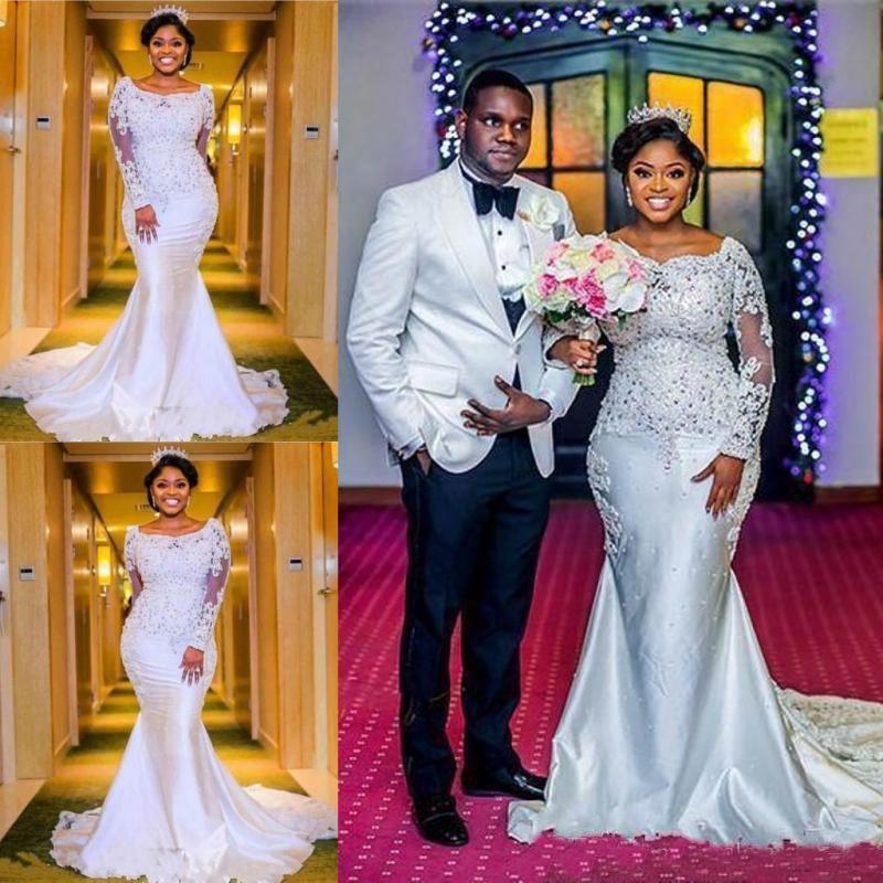 Plus Size Wedding Dresses Mermaid Long Sleeves Sweep Train Lace Bridal Gowns Custom Made African Wedding Dresses недорого