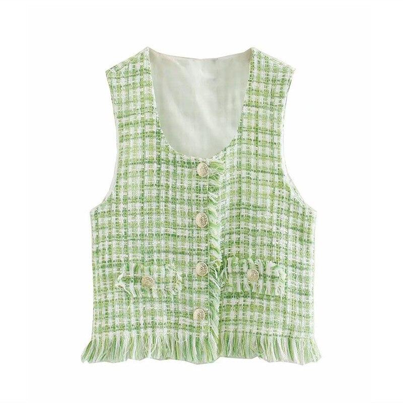 2020 Tweed camisa de mujer sin mangas cuello redondo frente falso Welt bolsillos Metal botón camisas Za mismo tela borde deshilachado blusa