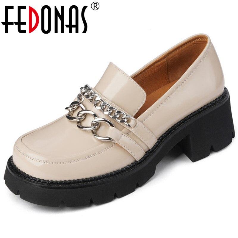FEDONAS موجزة تصميم أحذية للنساء الضحلة أعلى Quaity براءات الاختراع والجلود كعب سميك مضخات الخريف جديد أحذية الحفلات غير رسمية امرأة