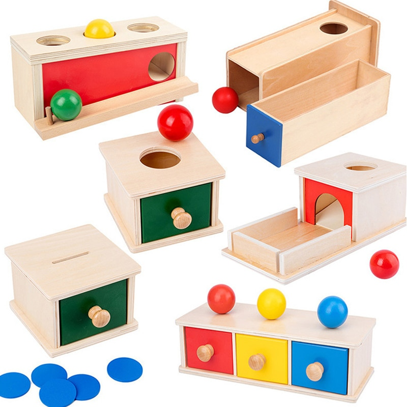 Деревянный комплект Монтессори для малышей, обучающие игрушки для малышей, коробка для малышей, пазлы для доски, Обучающие деревянные игры ...
