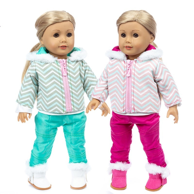 2020 New Fit 17 inch Baby New Born Doll Clothes Accessories 43cm Doll Winter Plush Down Jacket Suit