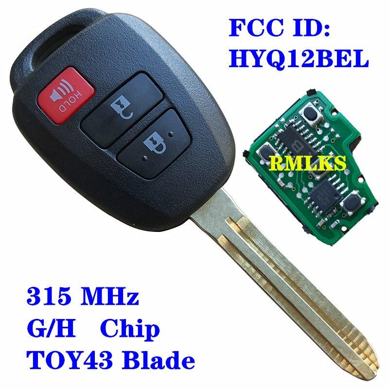 3 botones 314 Mhz reemplazo llave remota inteligente sin llave Fob para Toyota Camry Corolla 2015-2017 entrada mando a distancia HYQ12BEL H G Chip