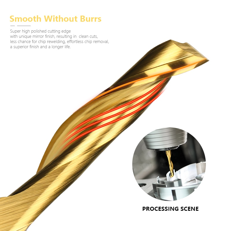 HSS Spiral Milling Cutter 8mm Shank Titanium Coated  End Mill for Aluminum Wood Cutting Single Flute CNC Aluminum Milling Tools enlarge