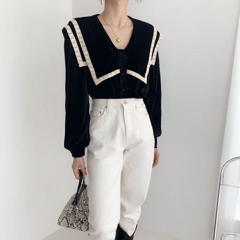 2021 Spring New Women Vintage Style Shirt Women Fashionable Lantern Sleeve Tops And Blusas